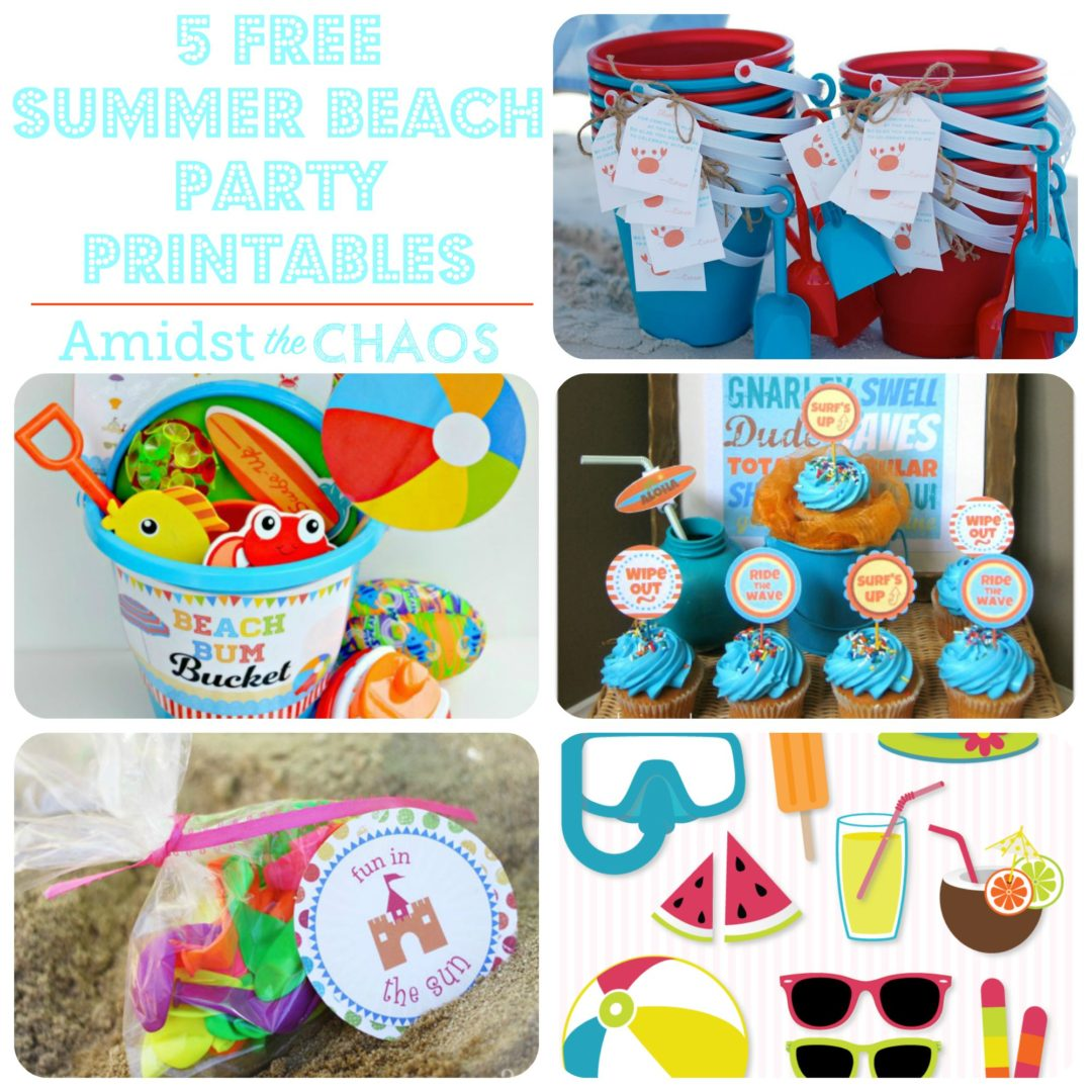 5 Free Summer Beach Party Printables