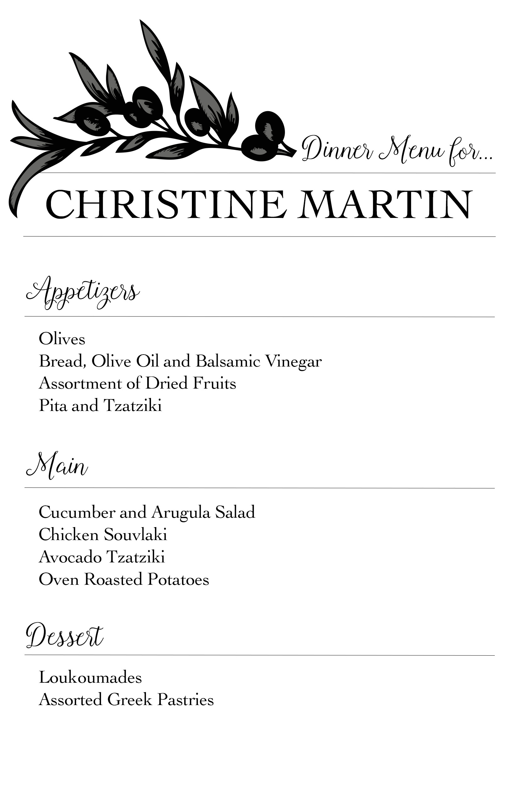 Greek inspired dinner party part 2 for Ideas for dinner menu