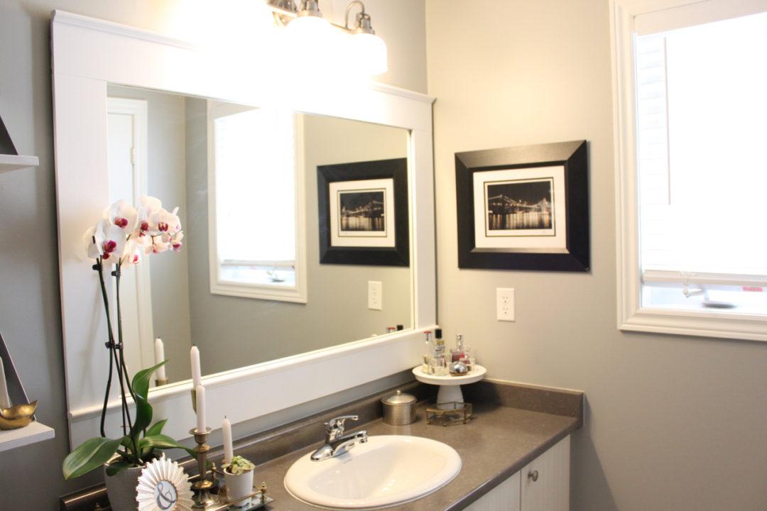 diy builder grade mirror makeover amidst the chaos rh amidstthechaos ca DIY Bathroom Vanity Makeover DIY Tile Bathroom Mirror