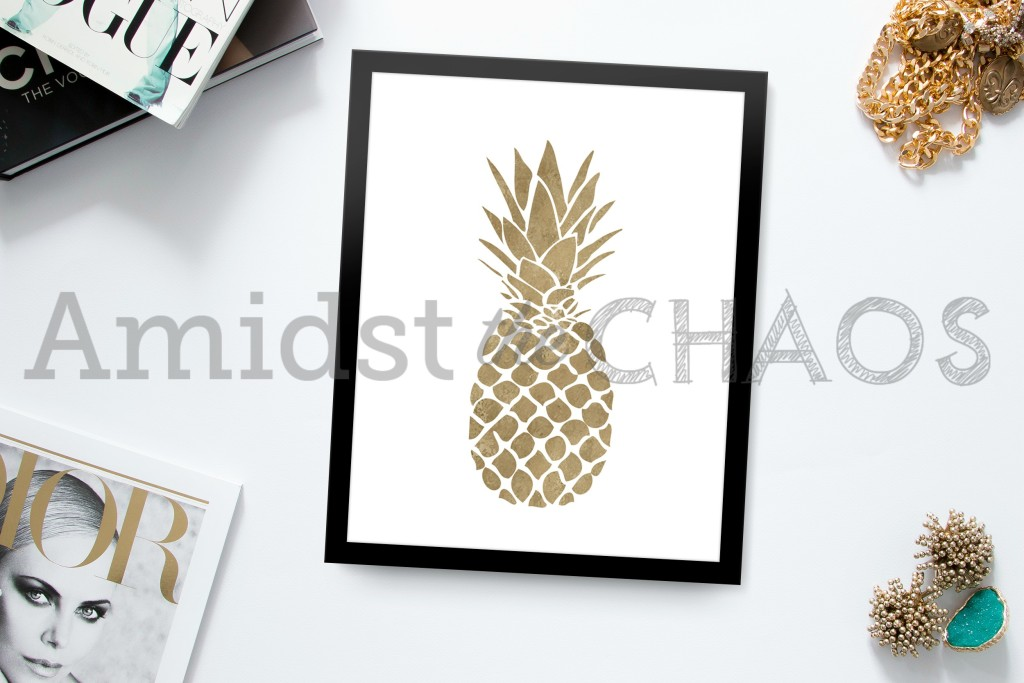 Amidst the Chaos Gold Pineapple Print