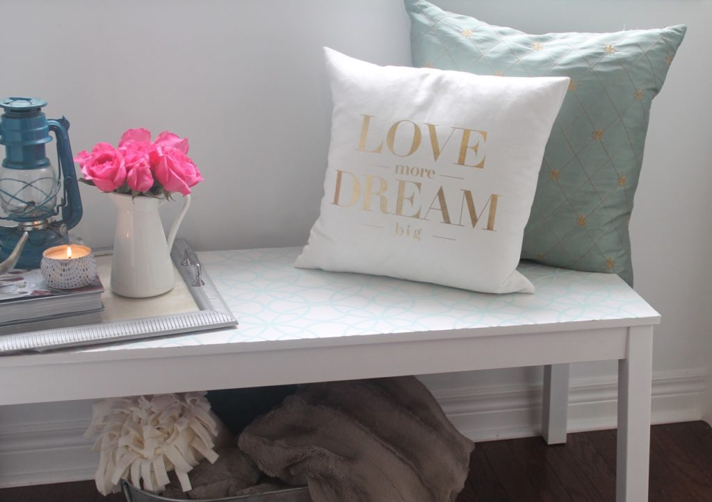 DIY Bench Makeover with Wallpaper