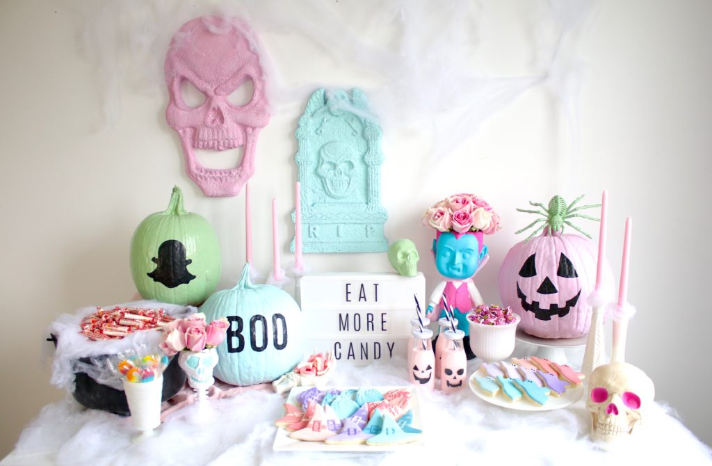 Pastel Halloween home decor tablescape