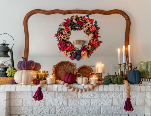 jewel-toned-fall-mantel-decor